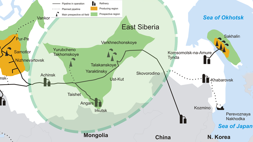 east siberia detailed map