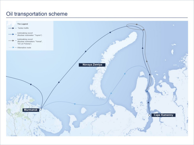 The route of oil from Novy Port once it reaches the new oil Cape Kammeny terminal. Photo from Gazprom Neft.