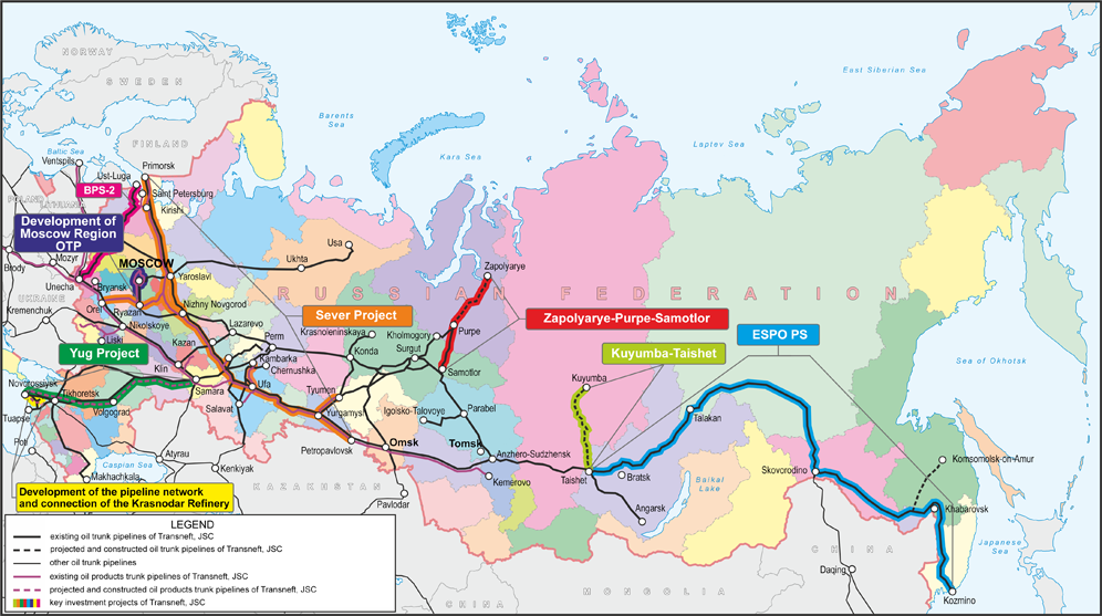 A map showing Transneft's vast pipeline system across Russia. From Transneft.ru