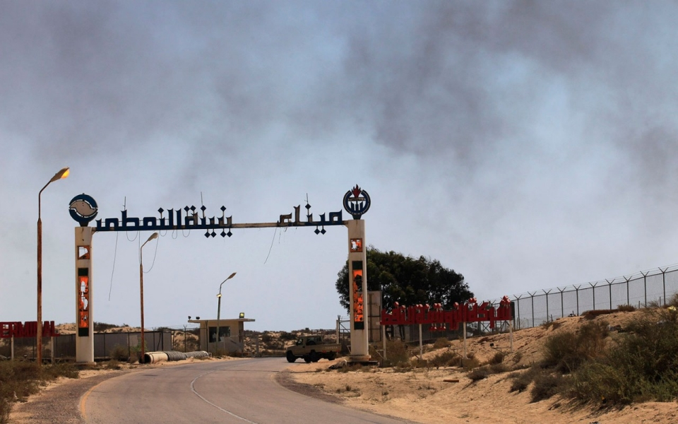 The entrance to the currently blockaded Zueitina oil terminal in Libya.